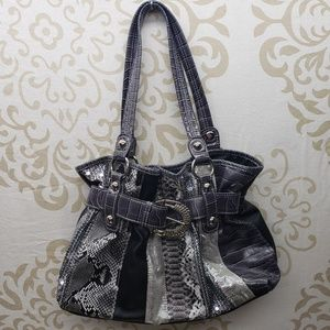 Animal Print Purse with Silver-Toned Buckle